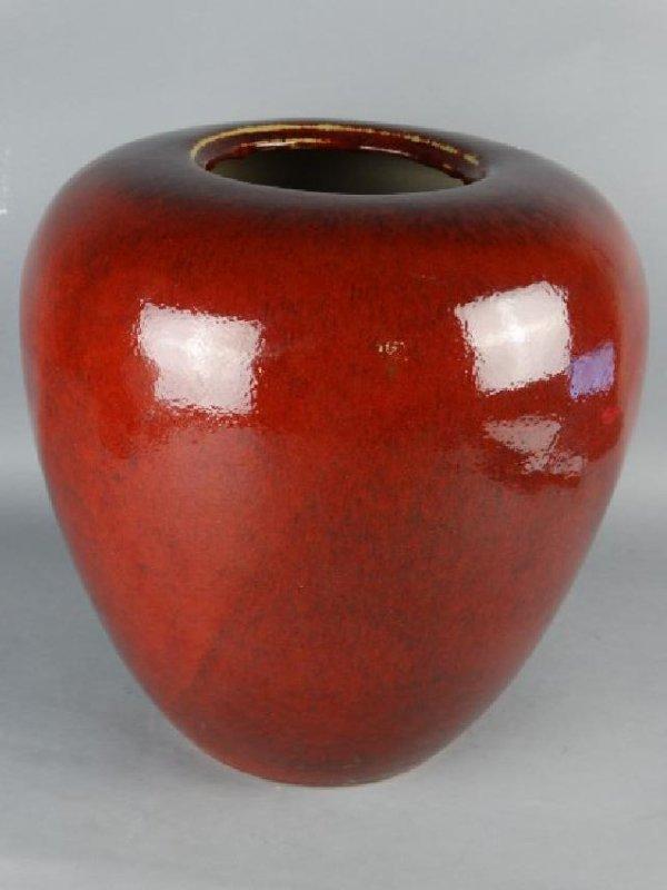 Large Red Glazed Chinese Jar - 2