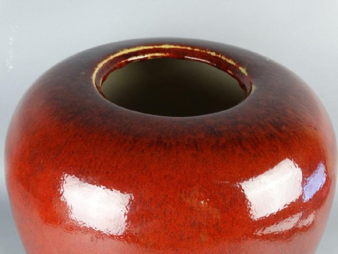 Large Red Glazed Chinese Jar - 3