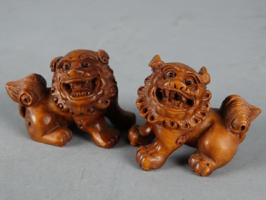 Set of Boxwood Fu Lions