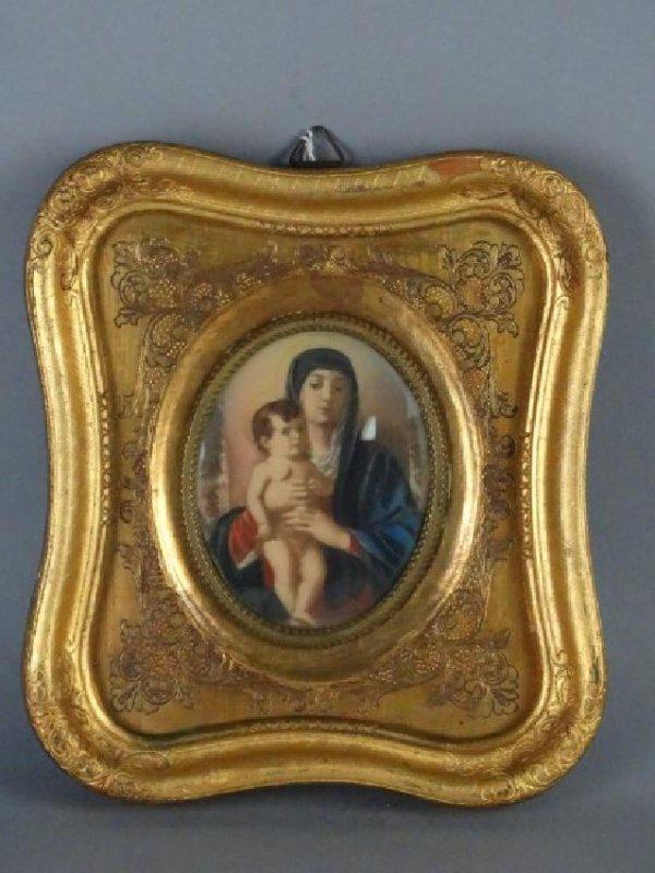 Antique Portrait Miniature in Gilt Wood Frame