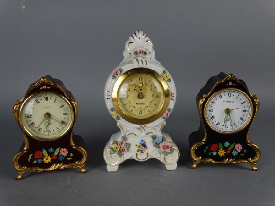 Group of 3 Small Rococo Style Clocks