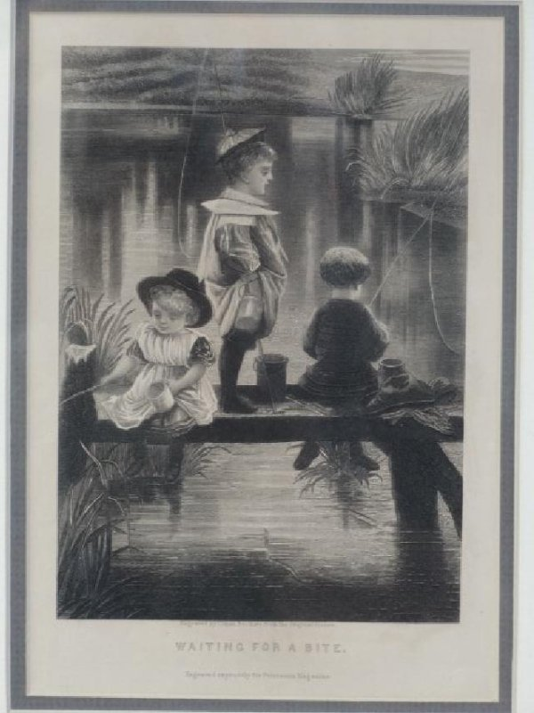 Antique Engraving - Waiting for a Bite