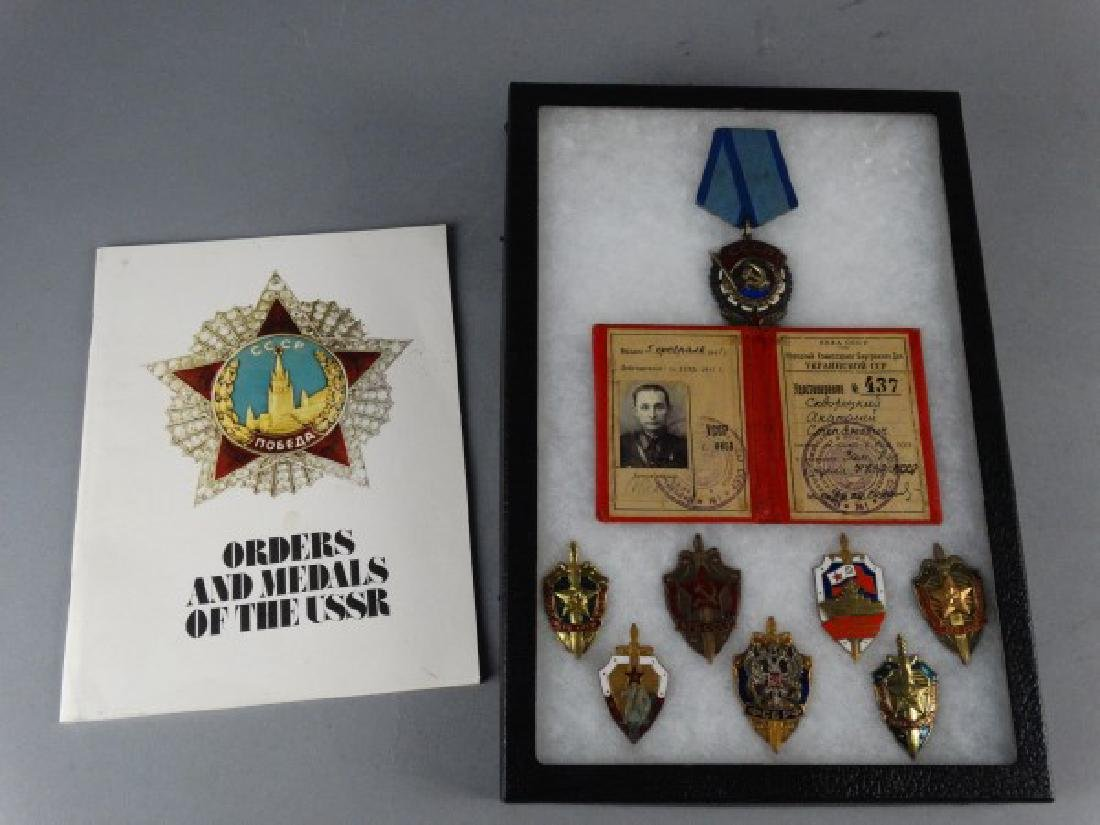 Collection of Russian Soviet Medals in Shadowbox