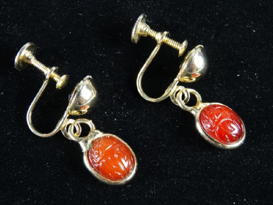 Pair of Carved Agate Earrings