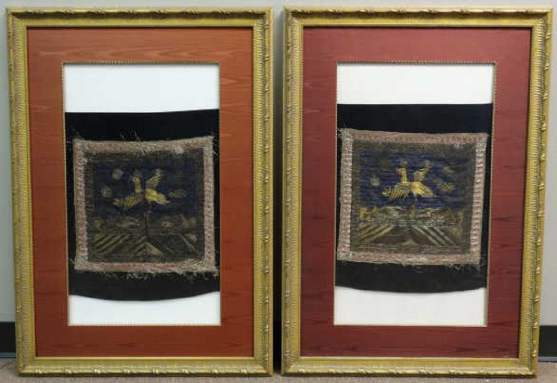 Lot of 2 Silk Framed Embroidered Rank Badges