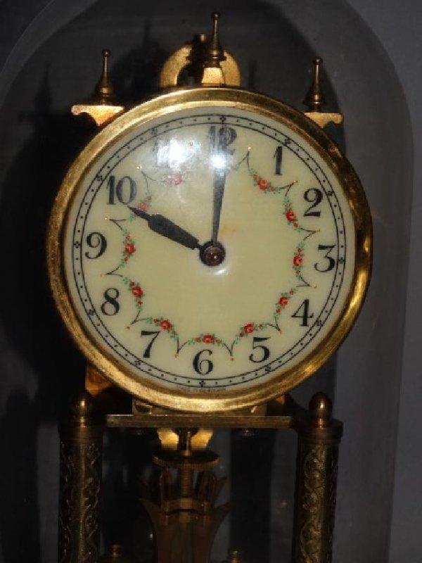 German Mantle Clock w/ Porcelain Dial - 2
