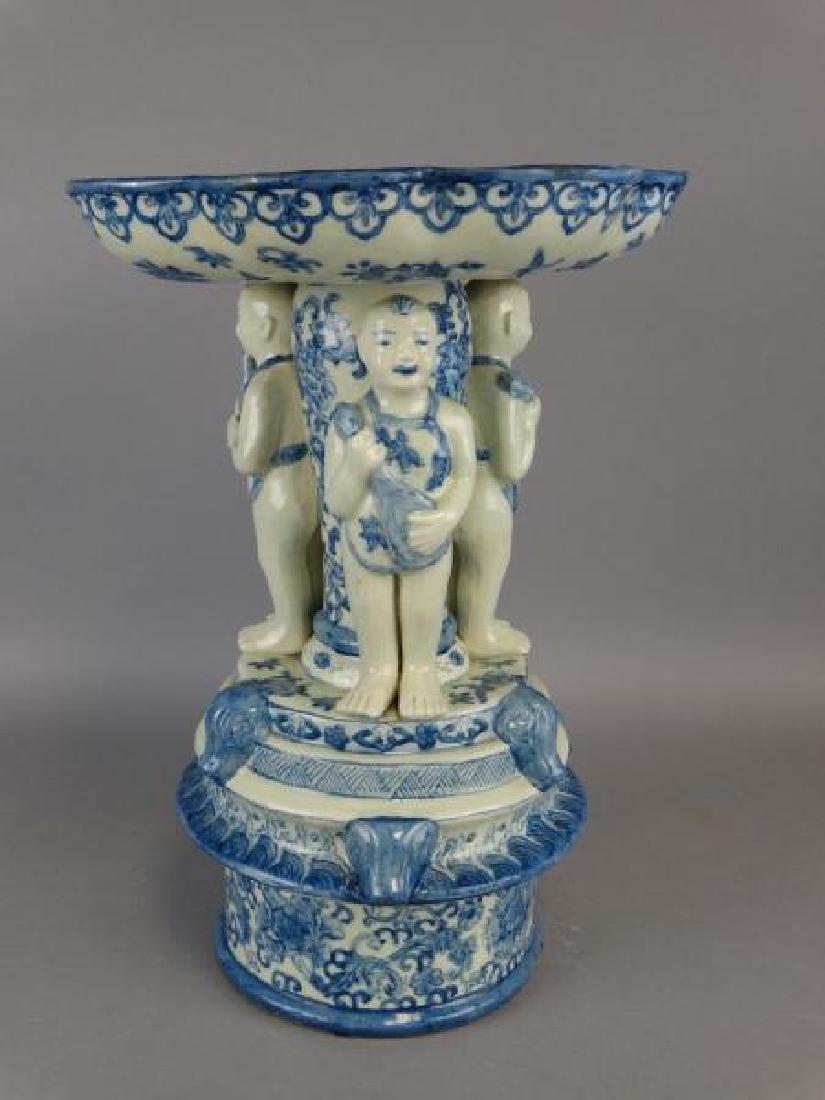 Large Chinese B&W Pedestal