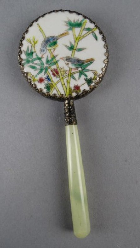 Chinese Porcelain & Jade Hand Mirror