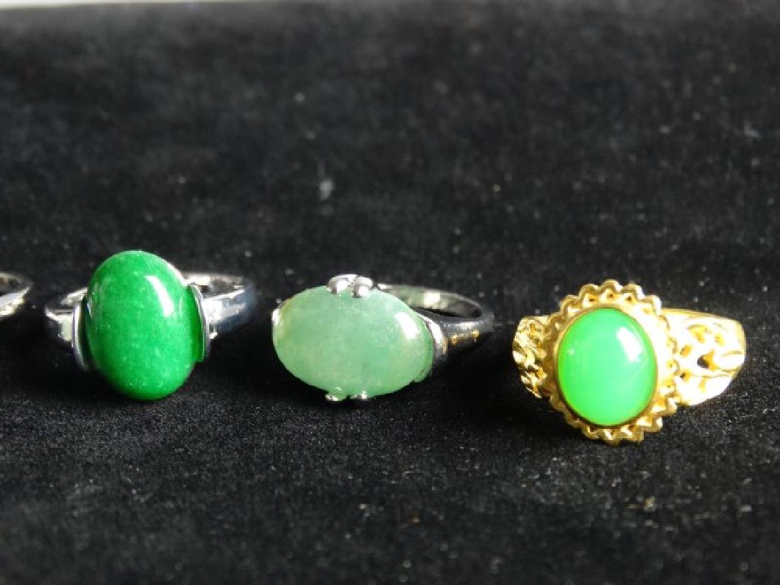 Grouping of 6 Jade Mounted Rings - 2