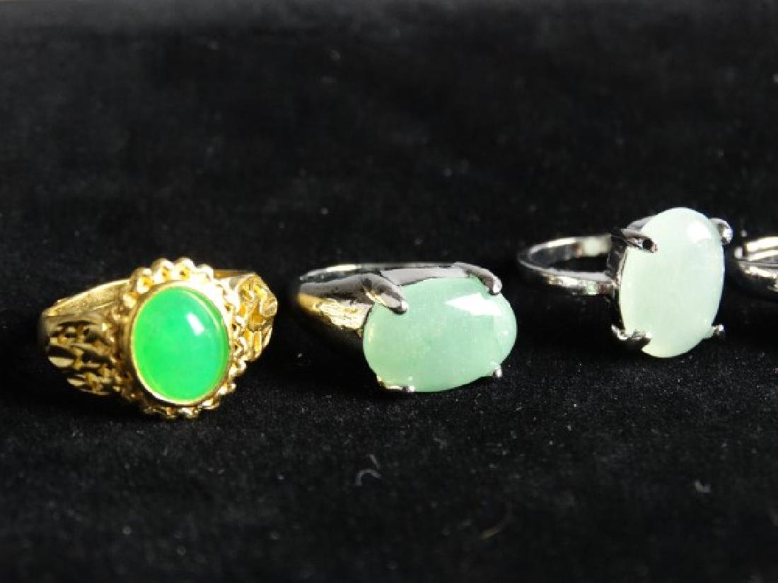 Grouping of 6 Jade Mounted Rings - 3