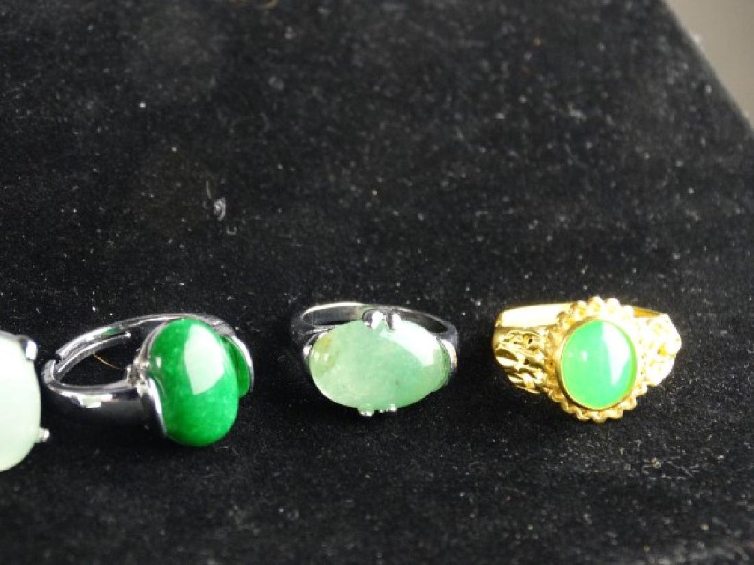 Grouping of 6 Jade Mounted Rings - 4