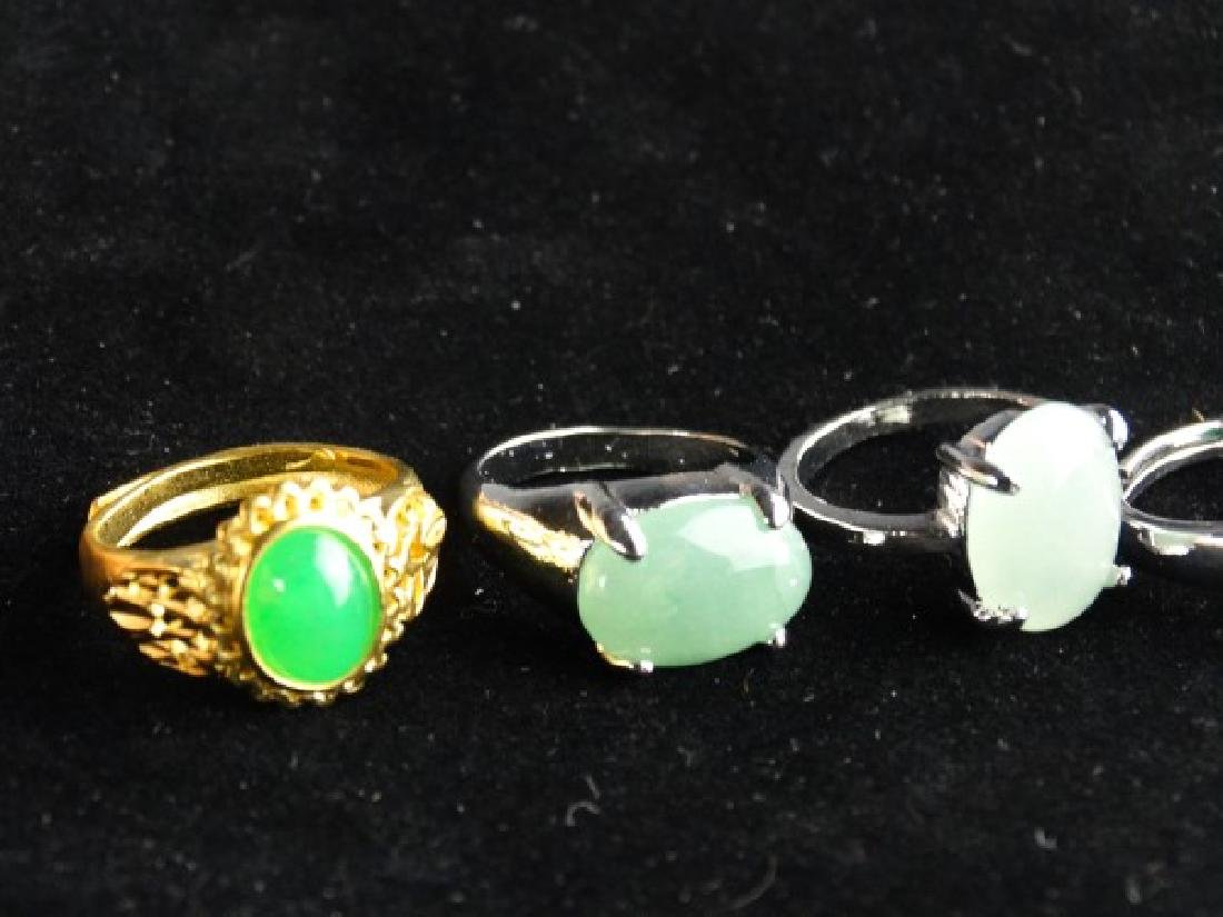 Grouping of 6 Jade Mounted Rings - 5