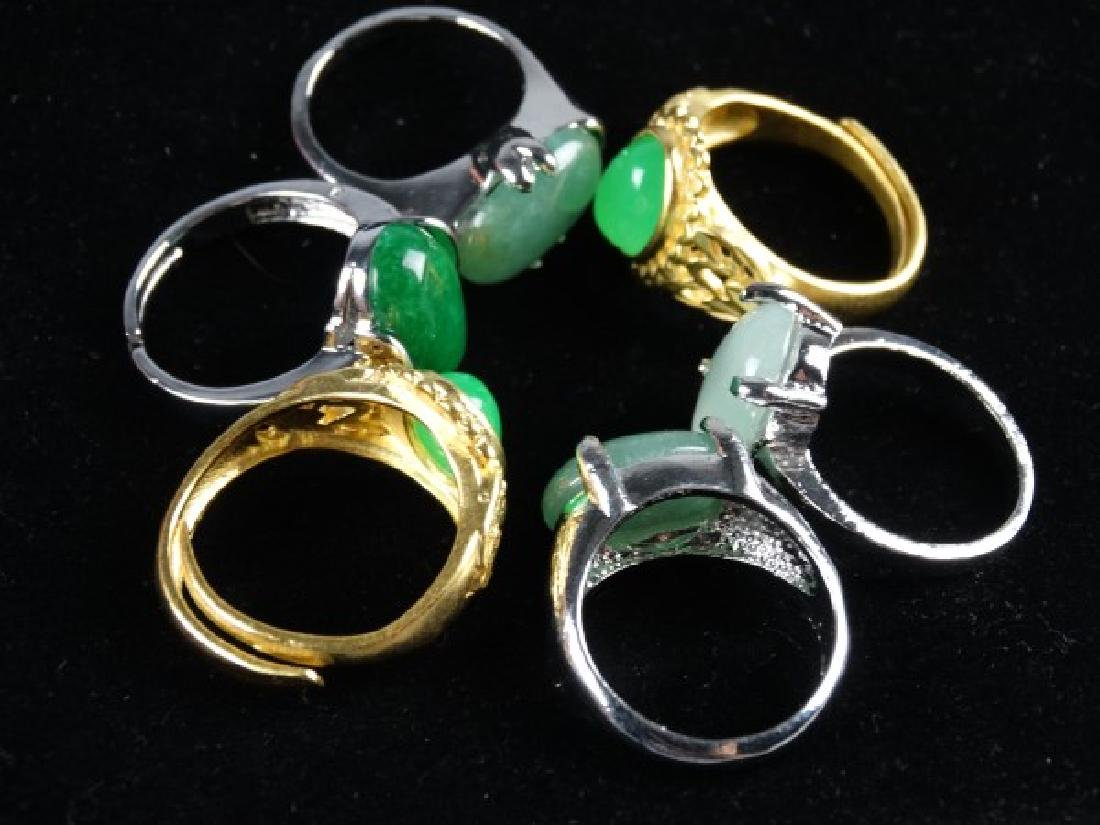 Grouping of 6 Jade Mounted Rings - 6