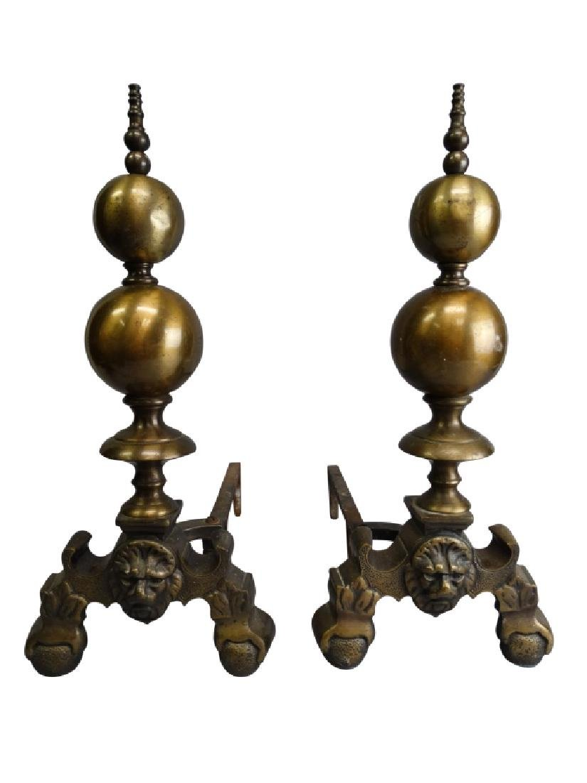 Pair of Lion Head Andirons