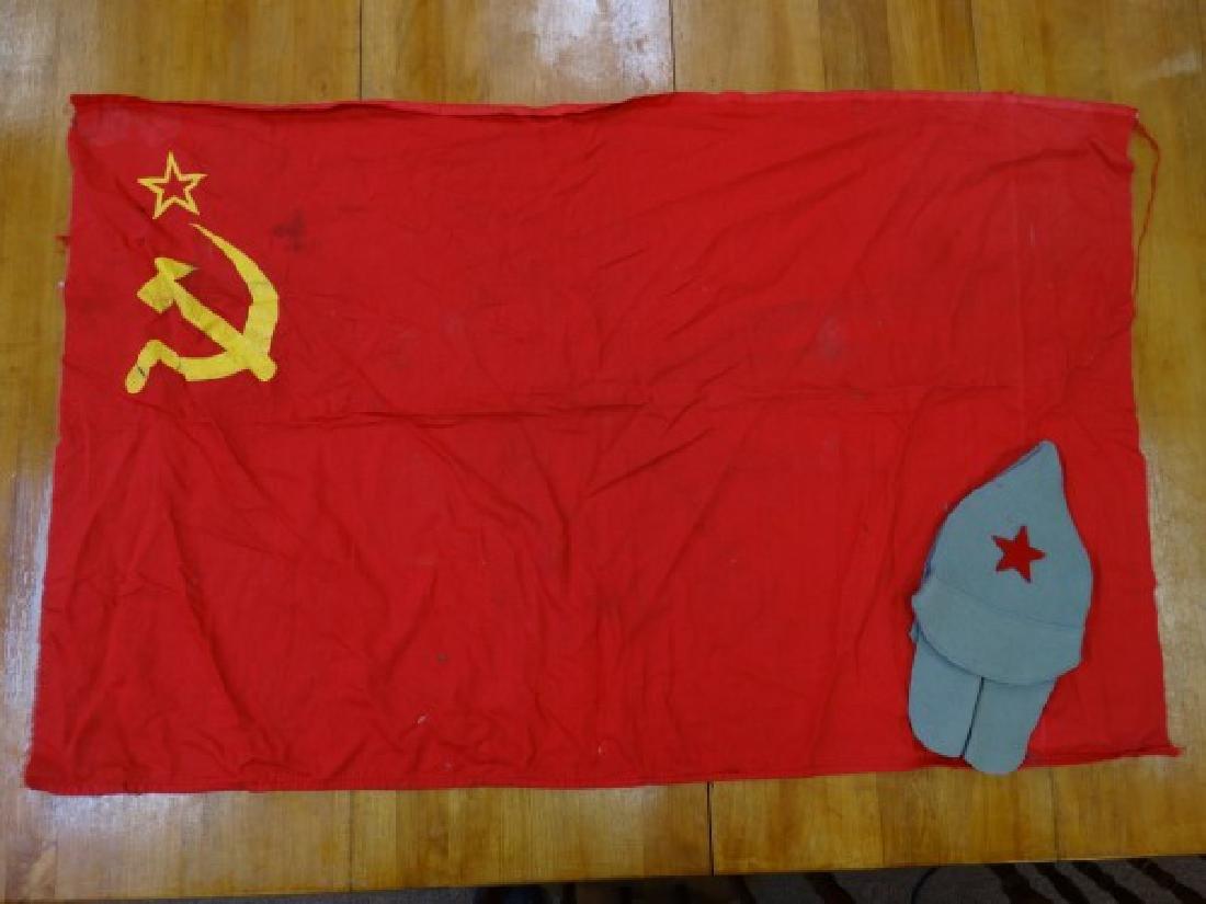Vintage Soviet Flag & Felt Hat