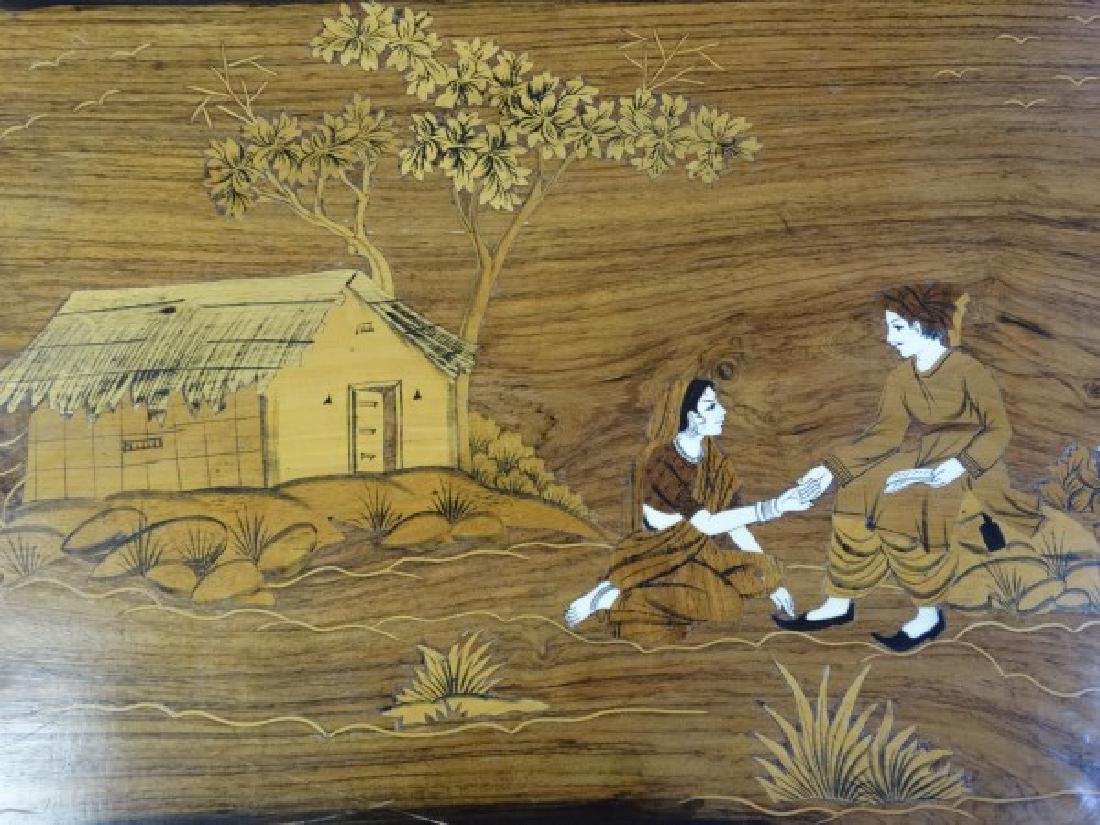 Marquetry Inlaid Wood & Bone Middle Eastern Scene
