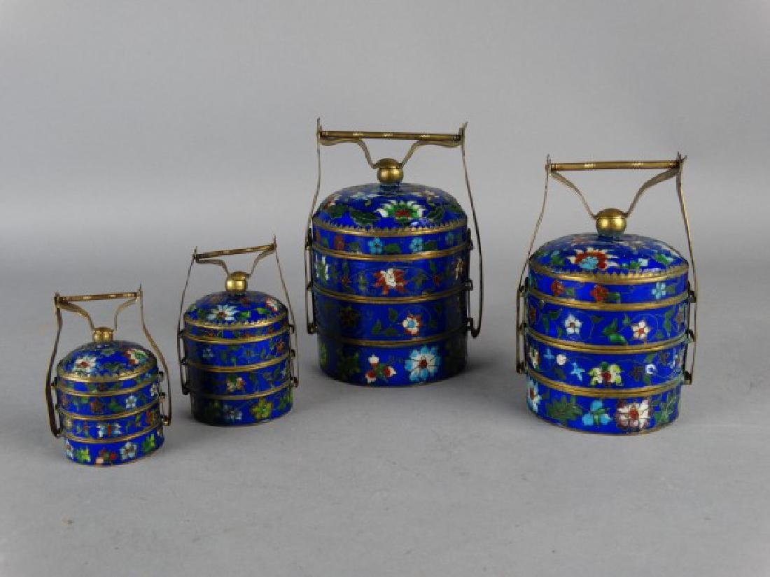 Grouping of 4 Cloisonne Stacking Containers