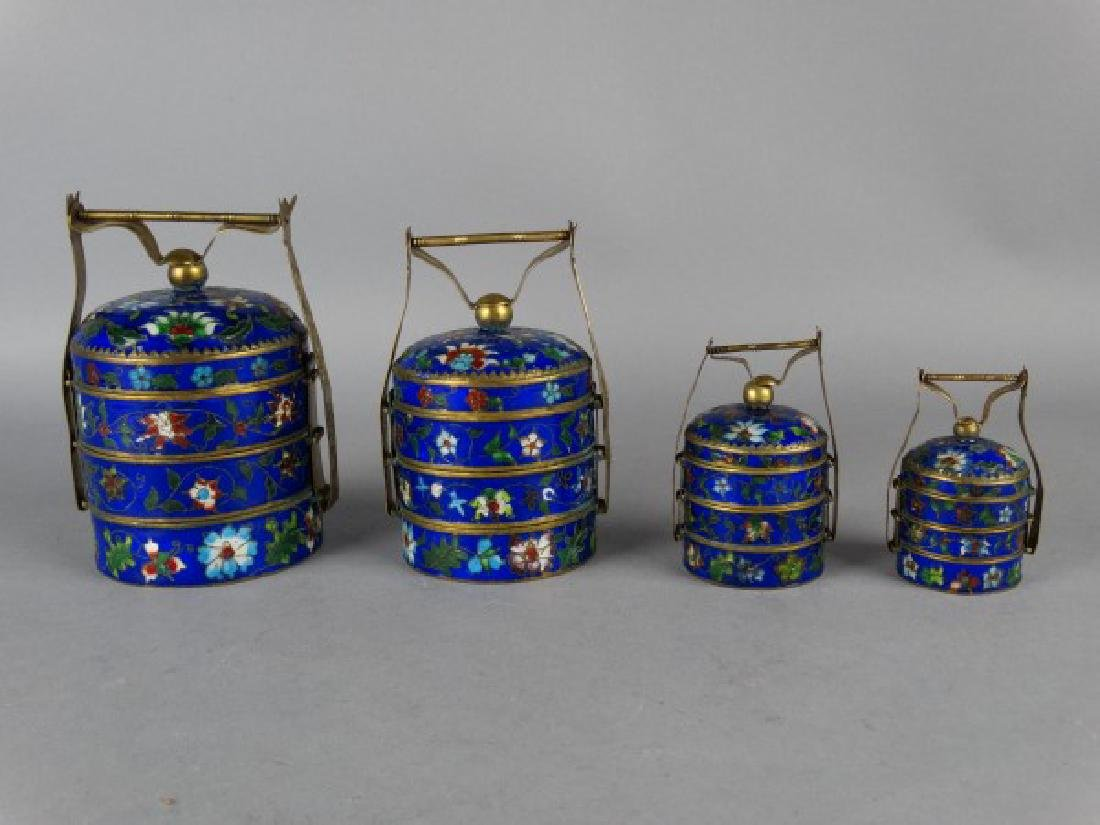 Grouping of 4 Cloisonne Stacking Containers - 2