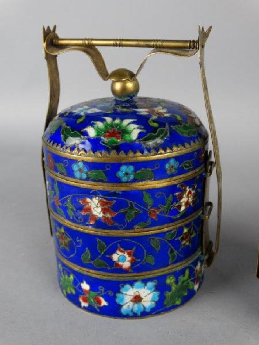 Grouping of 4 Cloisonne Stacking Containers - 3