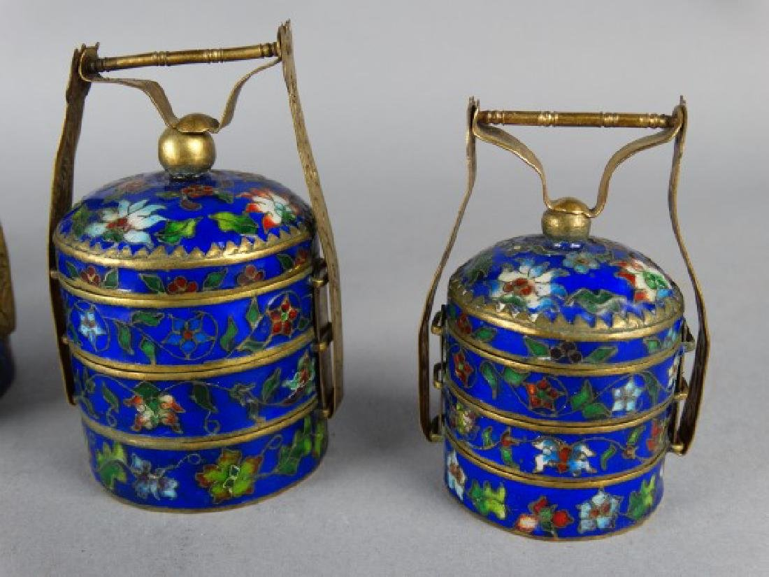 Grouping of 4 Cloisonne Stacking Containers - 4