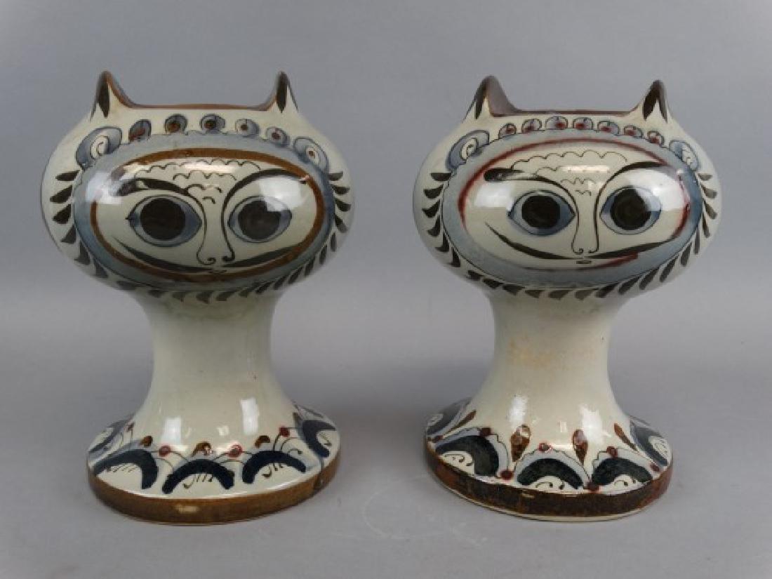 Pair of Tonala Stoneware Cat Candleholders