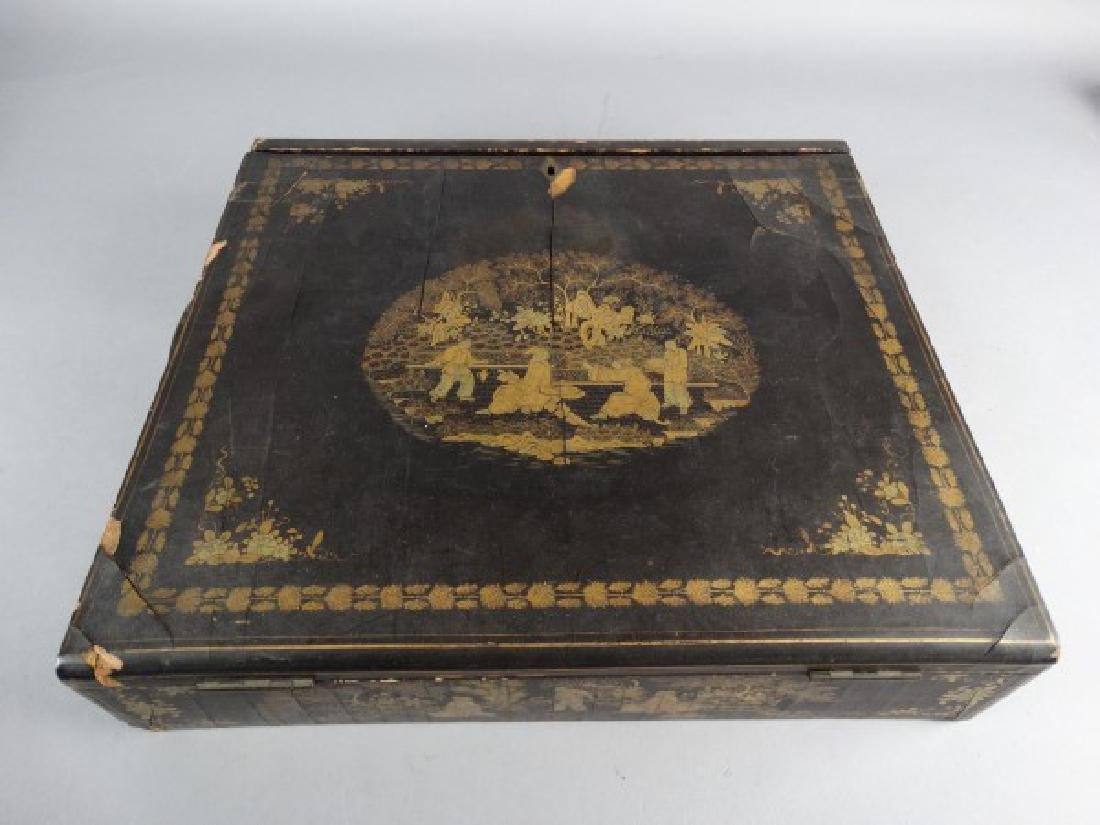 Chinese Export Gilt Decorated Lacquer Lap Desk