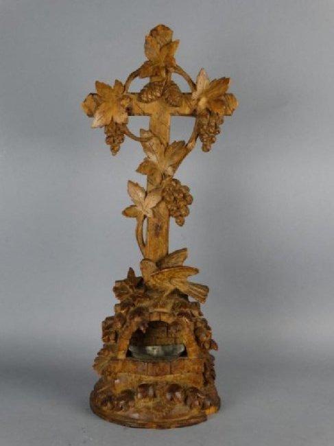 Antique German Black Forest Carved Holy Water Font
