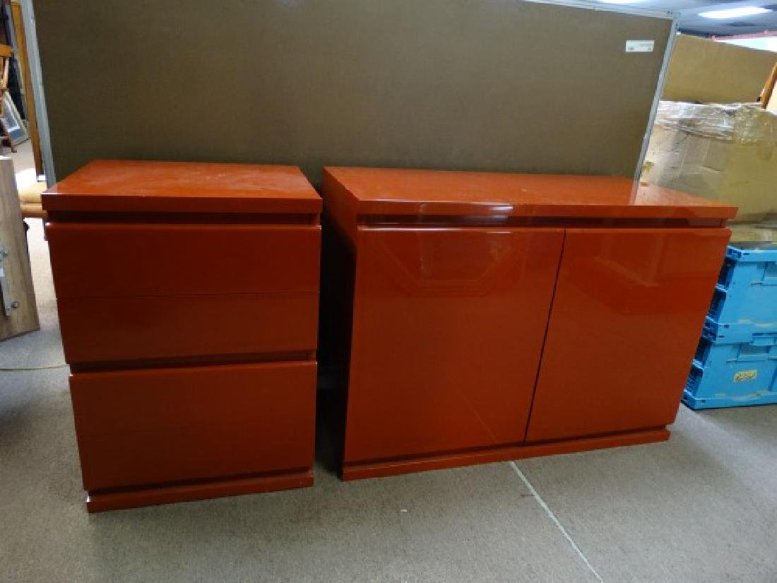 Pair of Red Lacquered Cabinets