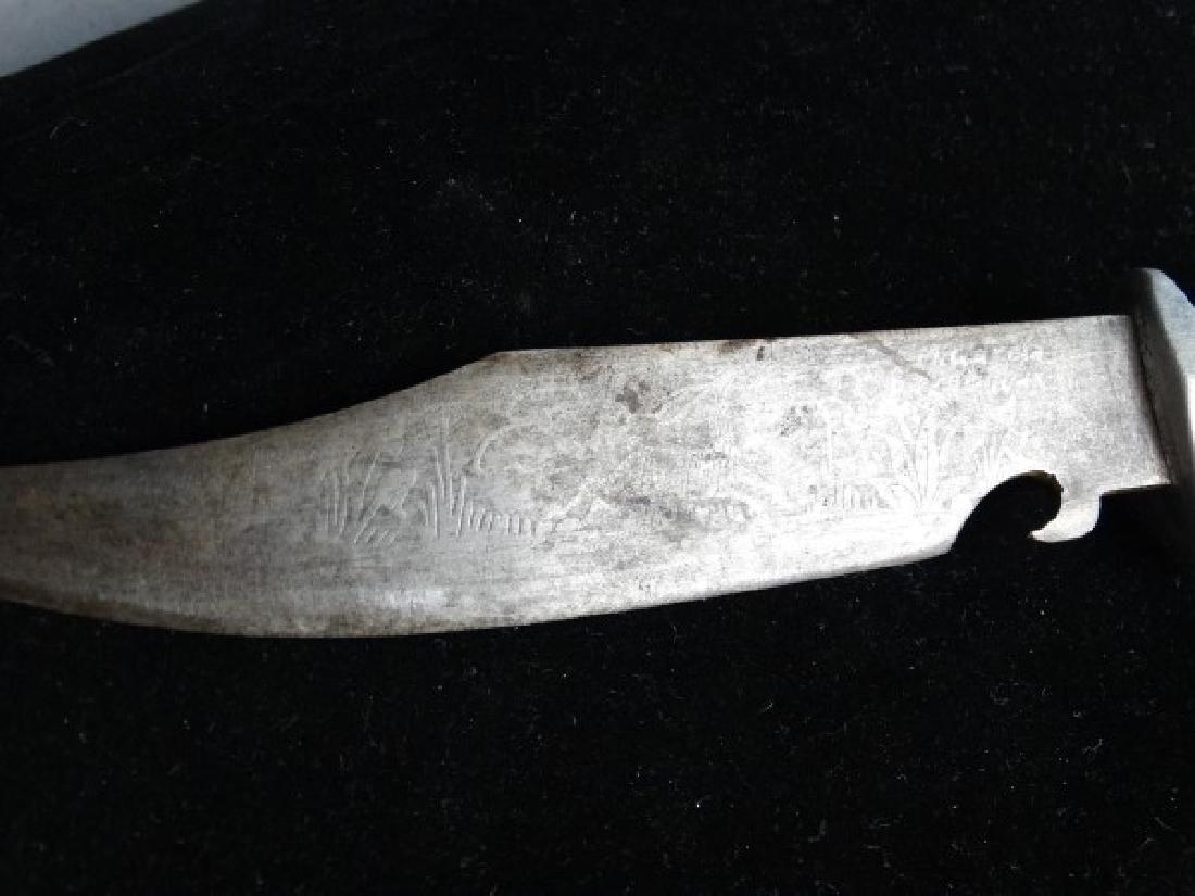 Antique Brass Eagle & Horn Handled Knife - 4