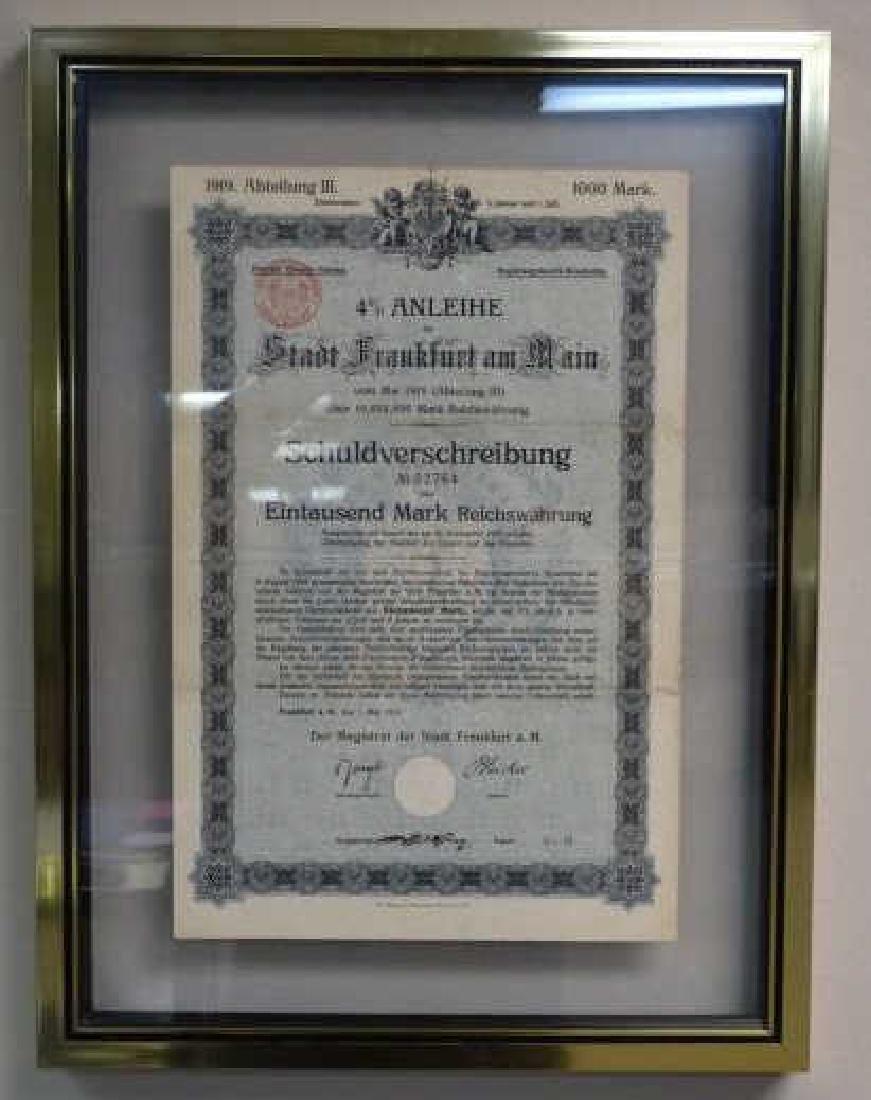 City of Frankfurt 1000 Mark Depenture Bond, 1919