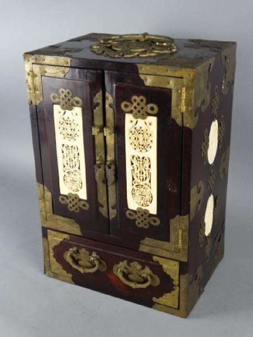 Very Ornate Wood Box w/ Highly Carved Inserts - 2