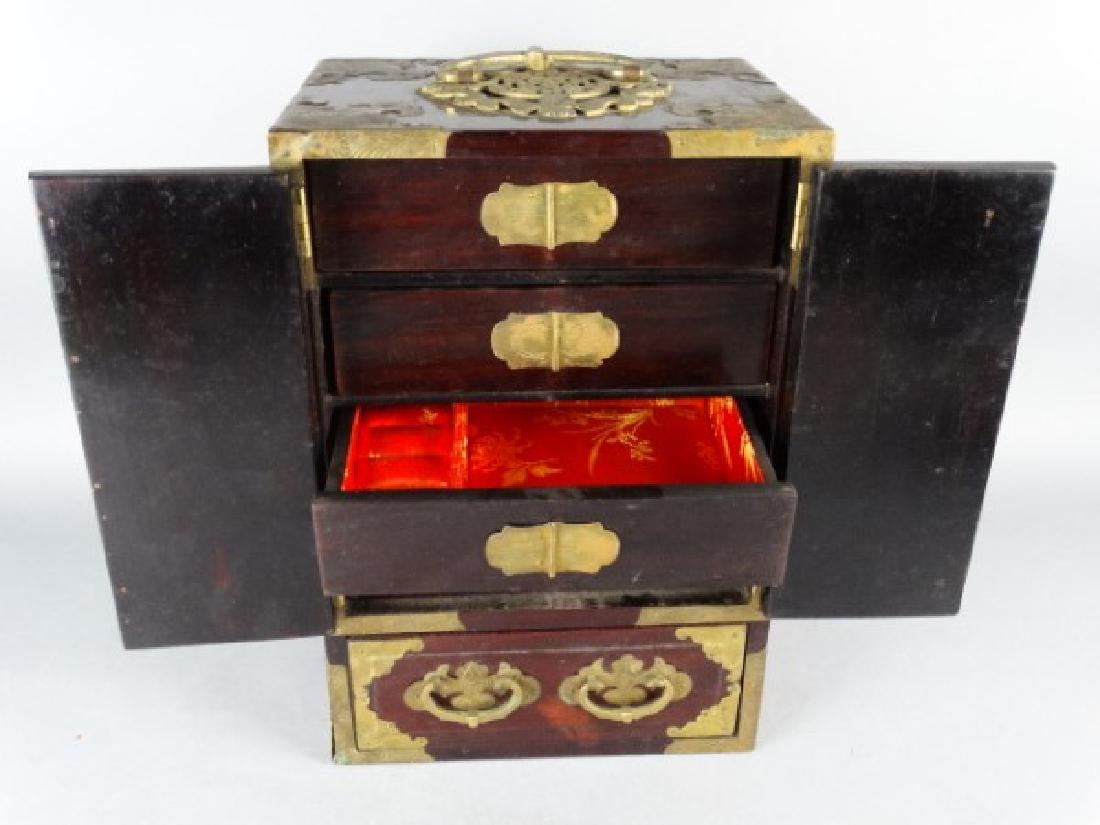 Very Ornate Wood Box w/ Highly Carved Inserts - 5