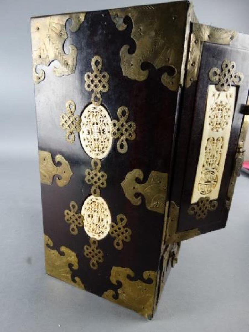 Very Ornate Wood Box w/ Highly Carved Inserts - 6
