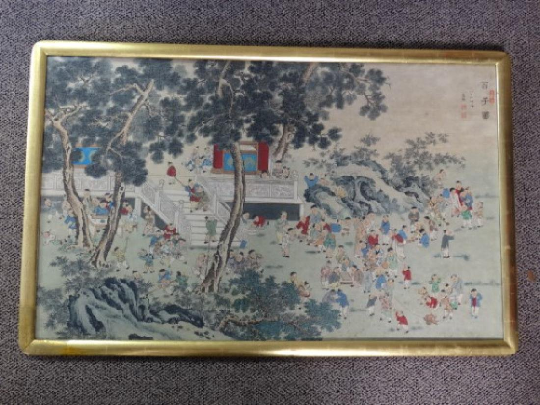 Large Chinese Painting w/ Gold Frame - 2