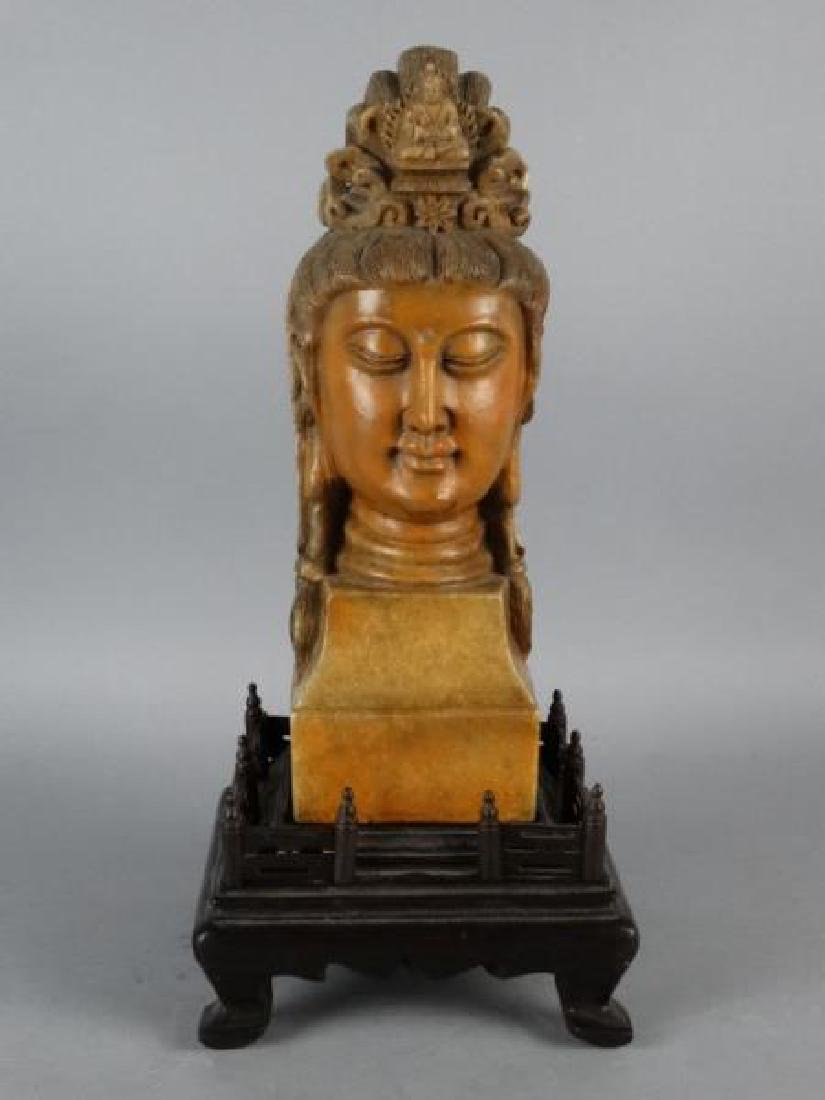 Chinese Carved Shoushan Stone Guanyin on Base