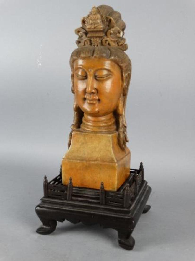 Chinese Carved Shoushan Stone Guanyin on Base - 2