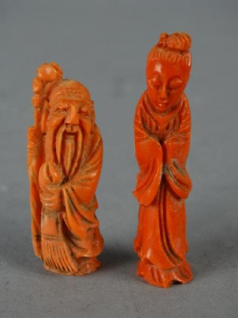Lot of 2 Red Coral Carvings - Deities