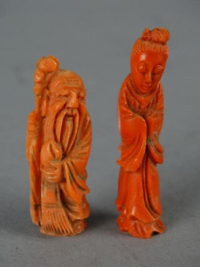 Lot of 2 Red Coral Carvings - Deities - 2
