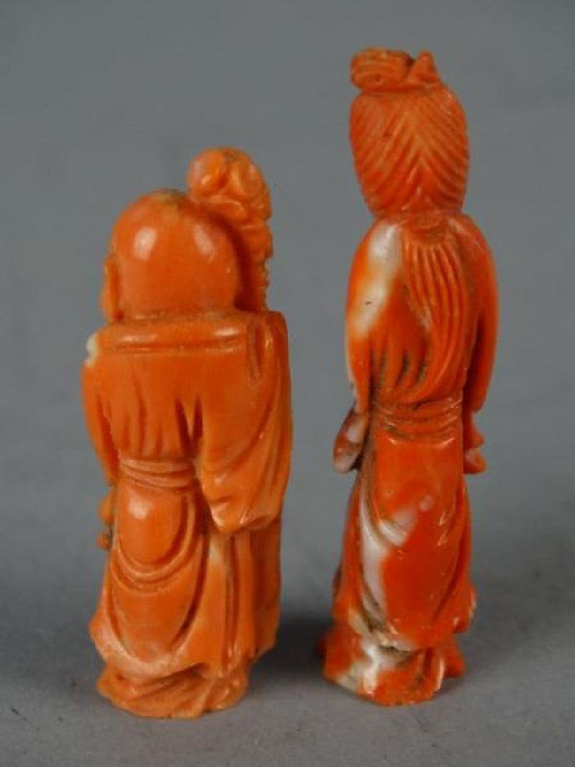 Lot of 2 Red Coral Carvings - Deities - 3