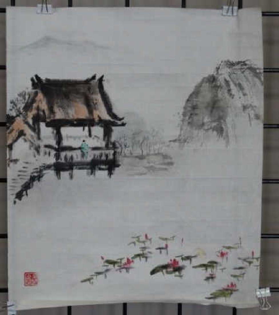 Chinese Watercolor Painting - House & Lily Pads