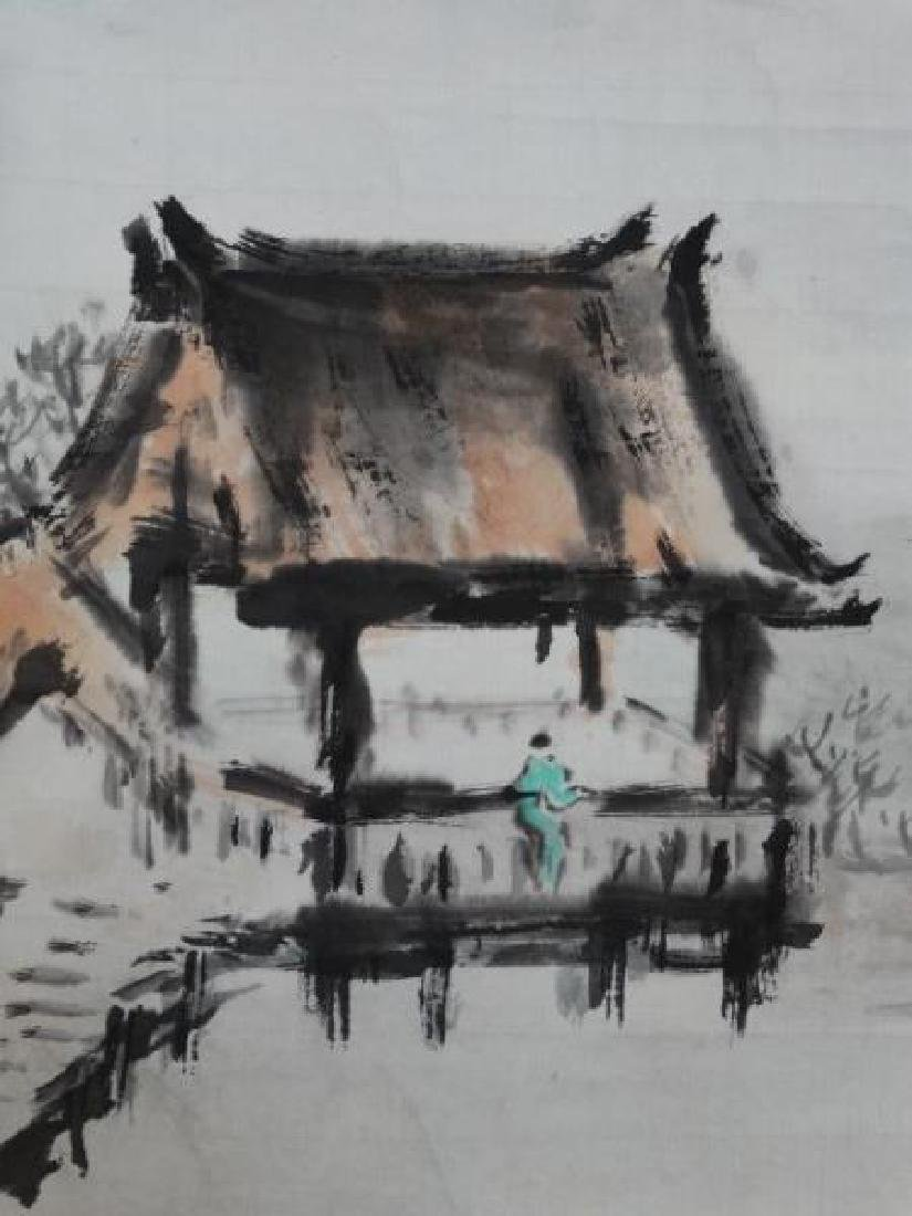 Chinese Watercolor Painting - House & Lily Pads - 2