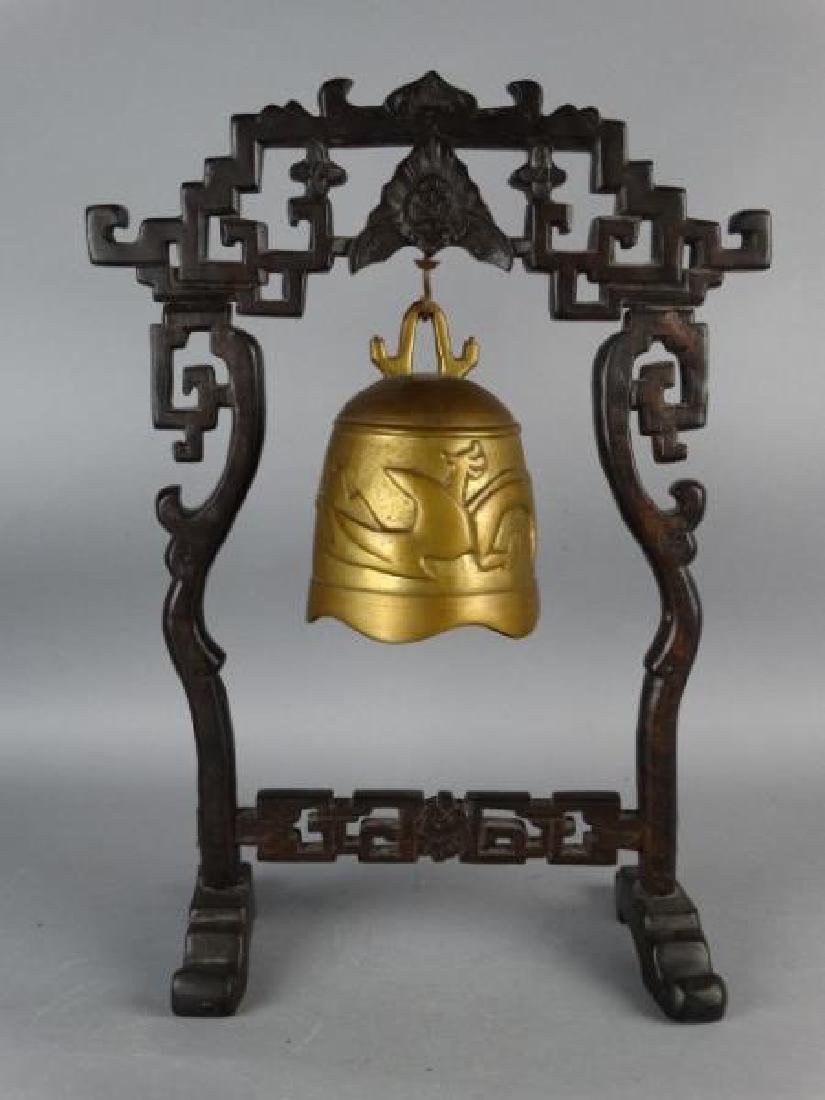 Chinese Bronze Bell on Carved Wooden Base - 2