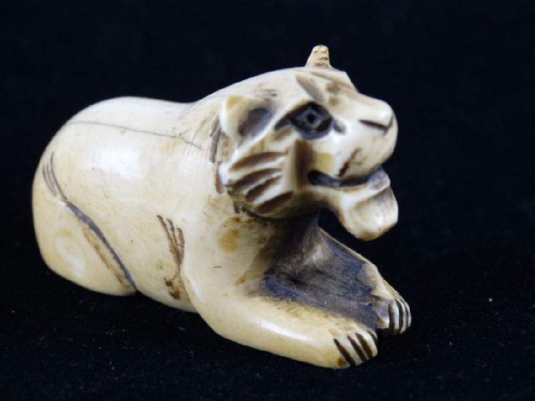 Carved Netsuke - Lion, signed - 3