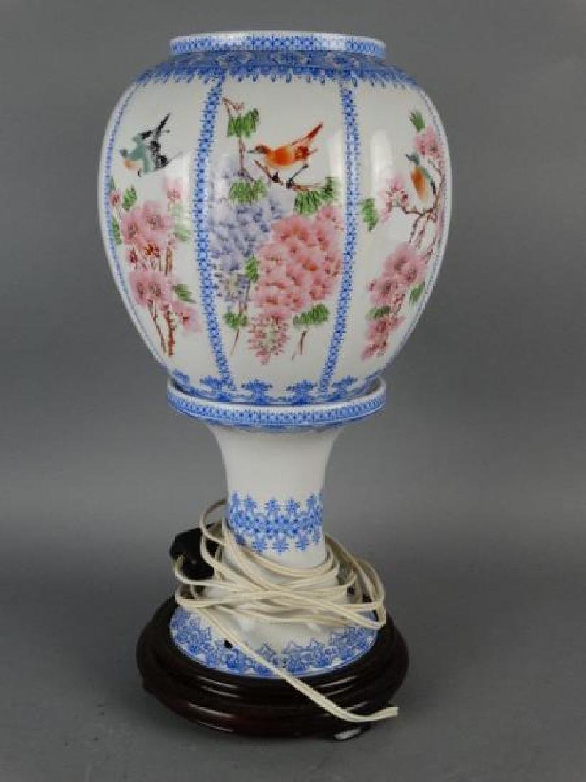 Chinese Eggshell Porcelain Footed Lamp