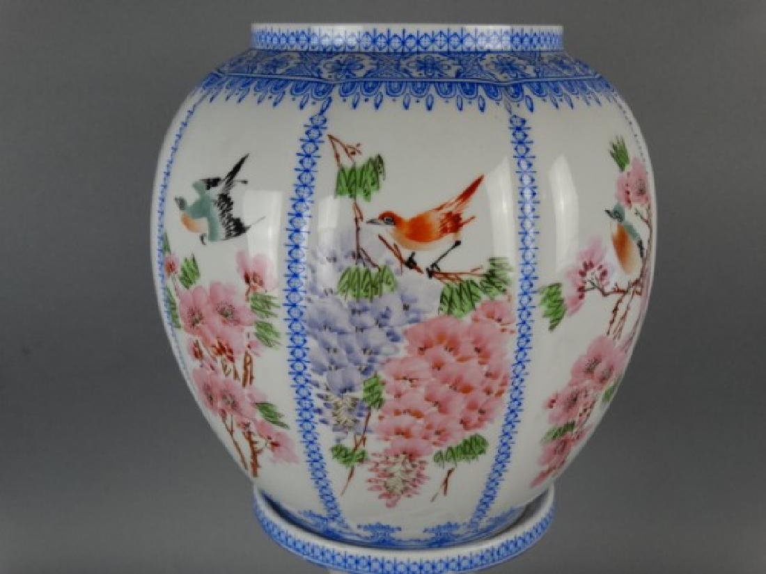 Chinese Eggshell Porcelain Footed Lamp - 3