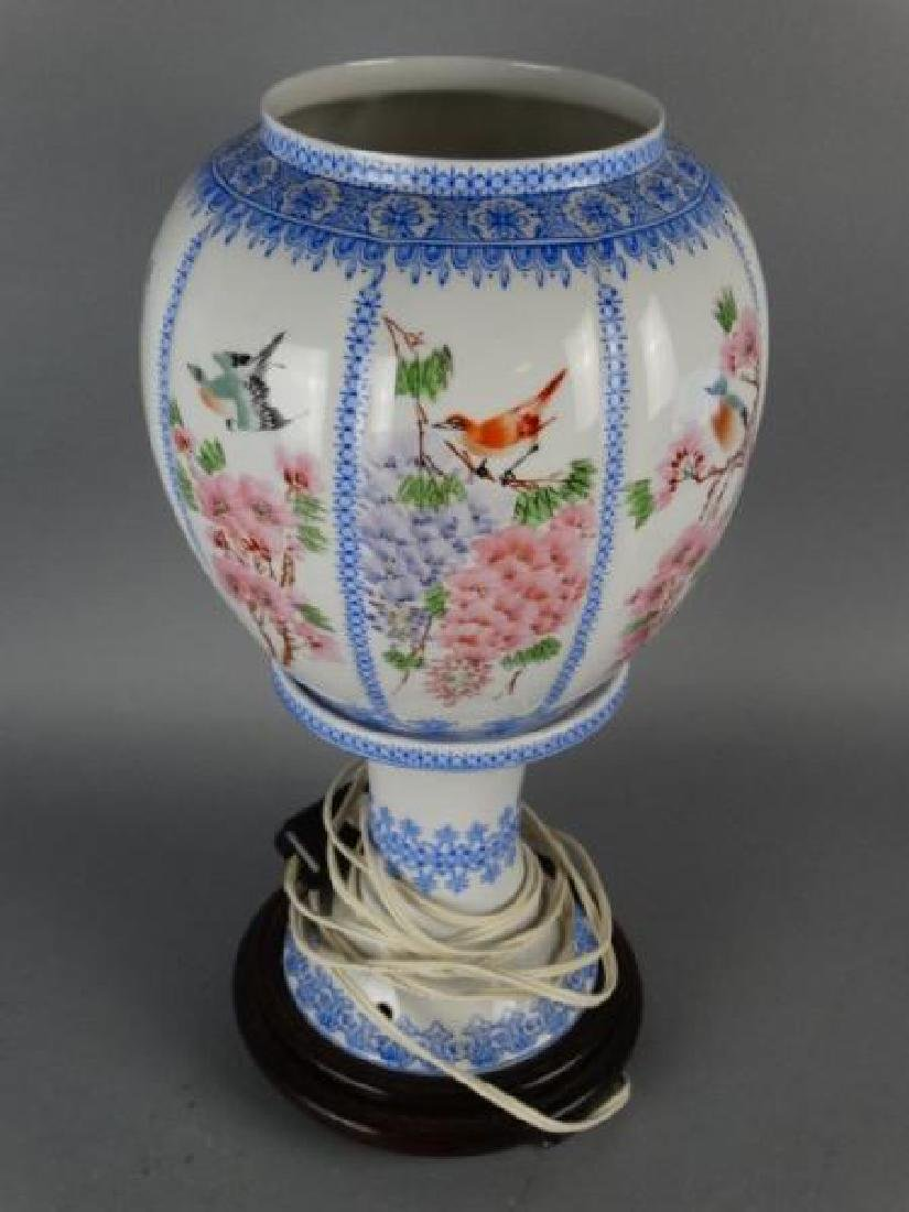 Chinese Eggshell Porcelain Footed Lamp - 4