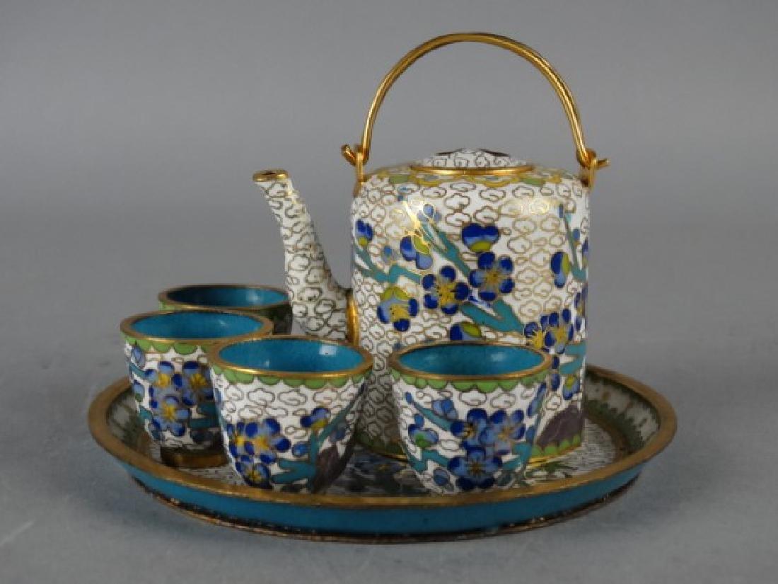 Miniature Cloisonne Tea Service - 2