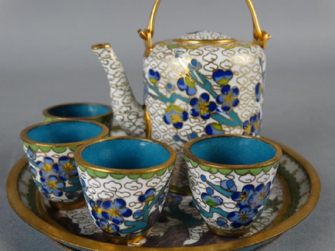 Miniature Cloisonne Tea Service - 3