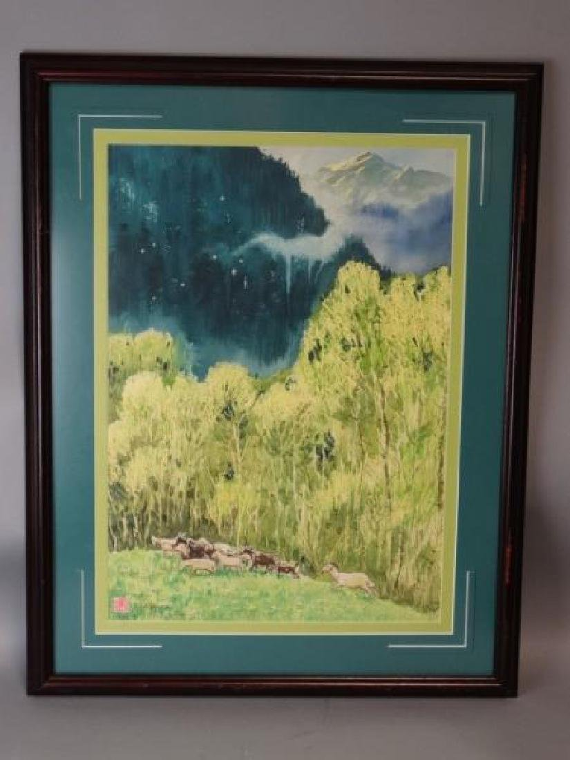 Chinese Watercolor Painting - Goats in a Field - 2