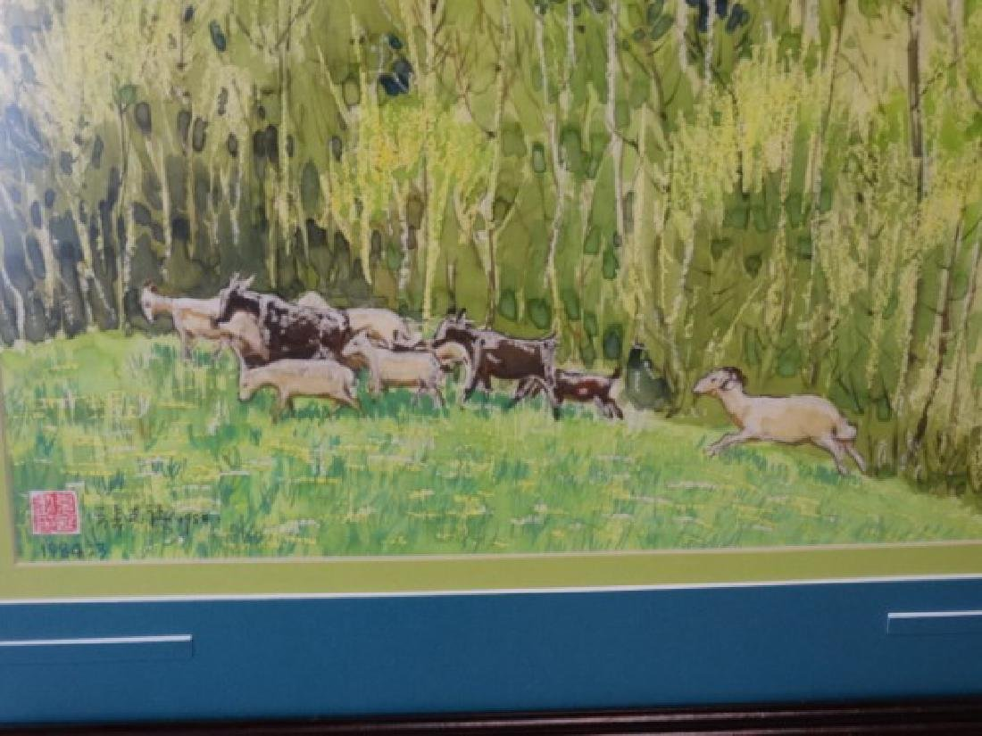 Chinese Watercolor Painting - Goats in a Field - 3